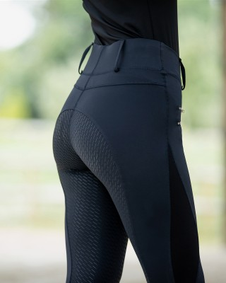 Double Front Zipper Pockets Women's Silicone Full Seat Horse Riding Tights